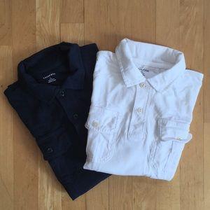 2/$20 2 navy white polo shirts Lands End sz 14-16